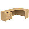 60W x 43D Bowfront LH L-Desk with 2 -Mobile Pedestals