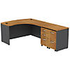 60W x 43D Bowfront RH L-Desk with 2 -Mobile Pedestals