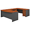 72W Bow Front U Shaped Desk with Mobile File Cabinets