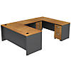 U Shaped Desk with 2 Mobile Pedestals