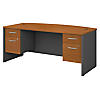 72W x 36D Bow Front Desk with 3/4 Pedestals