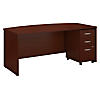 72W x 36D Bow Front Desk with Mobile File Cabinet