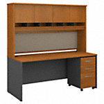 72W x 30D Desk, Hutch and 3 Drawer Mobile Pedestal