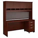 72W x 24D Desk, Hutch and 3 Drawer Mobile Pedestal