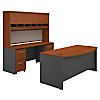 Bow Front Desk with Credenza, Hutch and Storage