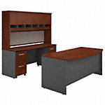 72W Bow Front Desk with Credenza, Hutch and Storage