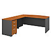 72W Bow Front Desk with 48W Return and 3 Dwr Mobile Pedestal