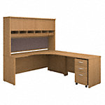 Right Handed Corner Desk, Hutch and Mobile File Cabinet