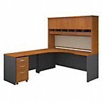 Left Handed Corner Desk, Hutch and Mobile File Cabinet