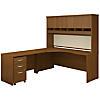 Left Handed Corner Desk, Hutch and Mobile File Cabinet