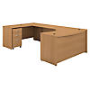 60W Left Handed U Shaped Desk with Mobile File Cabinet