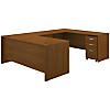 72W x 30D U Shaped Desk with Mobile File Cabinet