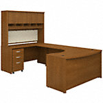 60W Left Handed Bow Front U Shaped Desk with Storage