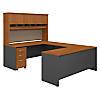 72W U Shaped Desk with Hutch and Storage