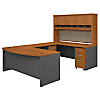 72W Bow Front U Shaped Desk with Hutch and Storage