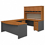 72W Bow Front U Station Desk with Storage
