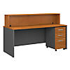 72W x 30D Reception Desk with 3 Drawer Mobile Pedestal