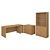 72W Office Desk with Bookcase and File Cabinets