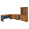 72W Desk with File Storage and Bookcase