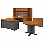 60W Right Hand Bow Front Desk with Storage and Conf Table