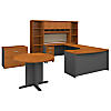 60W Left Hand Bow Front Desk with Storage and Conf Table
