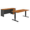 72W Height Adjustable Standing Desk, Credenza and Storage