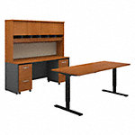 72W Height Adj Standing Desk, Credenza, Hutch and Storage
