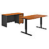 60W Height Adjustable Standing Desk, Credenza and Storage