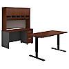 60W Height Adj Standing Desk, Credenza, Hutch and Storage