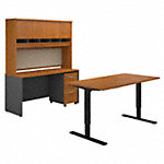 60W Height Adjustable Standing Desk, Credenza and Hutch