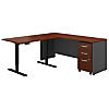 72W L Shaped Desk, Height Adjustable Return and Storage