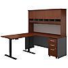 72W Desk with 48W Height Adj Return, Hutch and Storage