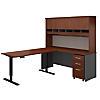 72W Desk with 60W Height Adj Return, Hutch and Storage