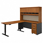 72W L Shaped Desk, 60W Height Adjustable Return and Hutch