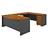 U Shaped Desk with Height Adjustable Bridge and Storage