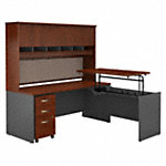 72W x 30D Sit to Stand L Desk with Hutch and Drawers
