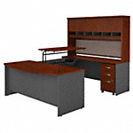 72W Bow Front Sit to Stand U Desk with Hutch and Drawers