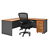L Shaped Desk with Mobile File Cabinet and Office Chair