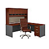 L Shaped Desk with Hutch, Mobile File Cabinet and Chair