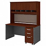 60W x 30D Office Desk with Hutch and Mobile File Cabinet
