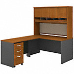 60W L Shaped Desk with Hutch and Mobile File Cabinet