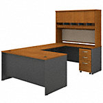 60W U Shaped Desk with Hutch and Mobile File Cabinet