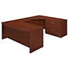 72W x 36D Right Hand Bowfront U Station Desk Shell with Lateral File
