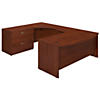 72W x 36D Left Hand Bowfront U Station Desk Shell with Lateral File