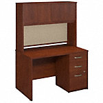 48W x 30D Desk with Hutch and 3 Drawer Pedestal