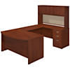 60W x 36D Bow Front U Shaped Desk with Hutch and Storage