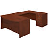 60W x 36D Bow Front U Shaped Desk with 3 Drawer Pedestal