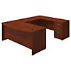 72W x 36D Bow Front U Shaped Desk with 3 Drawer Pedestal
