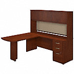 72W x 24D L Shaped Desk with Peninsula Return, Hutch and Storage