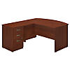 60W x 36D Bow Front L Shaped Desk with Return and 3 Drawer Pedestal